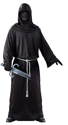 Adult Mens Grim Reaper Costume Black Death Medieval Fancy Dress Robe & Mask NEW