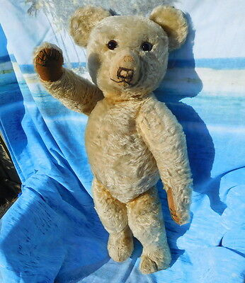 """Old 1930`s antique teddy bear Merrythought earliest label 26"""" tall collectable"""