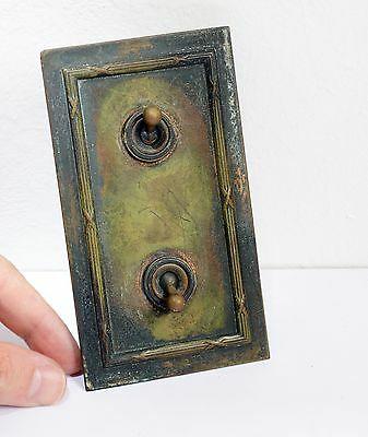 Superb Reclaimed Vintage CRABTREE Brass Plate Double Light Switch. Architectural