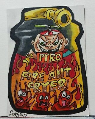 Original Art Sketch Card Wacky Packages Inspired Pyro Fire Ant Fryer Scheres