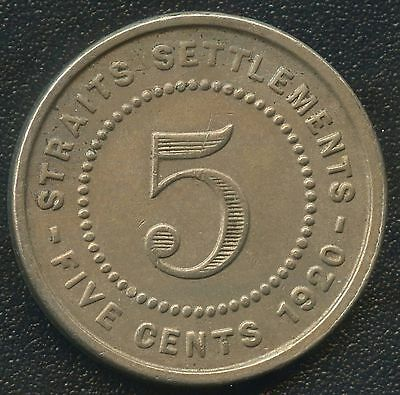 1920 Straits Settlements 5 Cent Coin