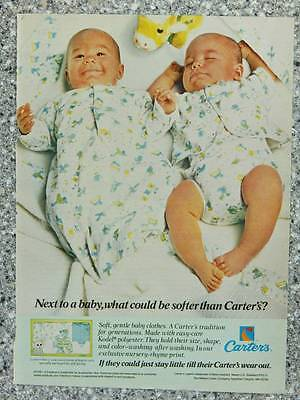 1984 Carter's Baby Clothes - Vintage Magazine Ad Page - Cute Twin Baby Boys