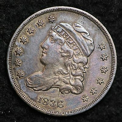 1836 Capped Bust Half Dime CHOICE AU DOUBLING & DIE CRACK FREE SHIPPING E181 KMT