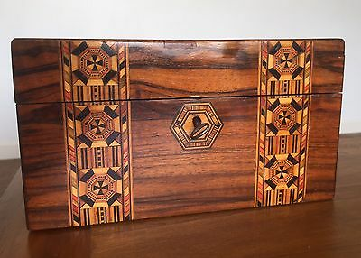 Large Antique Inlaid Wooden Box With Key.