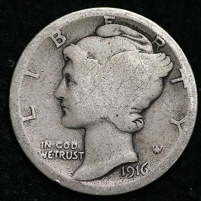 1916-D Mercury Dime CHOICE G FREE SHIPPING E233 ELM