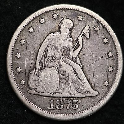 1875-CC Seated Liberty Twenty Cent   Piece CHOICE FINE FREE SHIPPING E254 CHT
