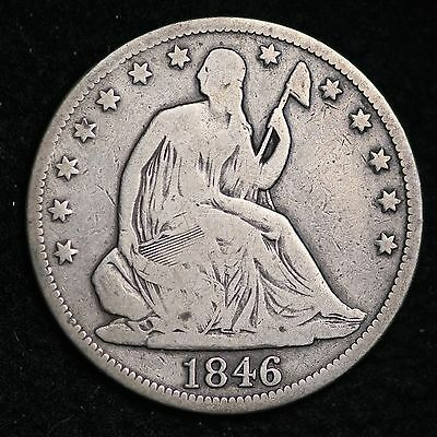 1846 TALL DATE Seated Liberty Half Dollar CHOICE FINE FREE SHIPPING E320 ULT