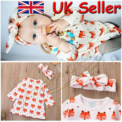 Cute Newborn Baby Girl Long Sleeve Cotton Blouse Tops Headband Clothes Outfit UK
