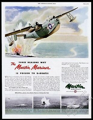 1944 US Navy Martin Mariner bomber plane art and photo vintage print ad