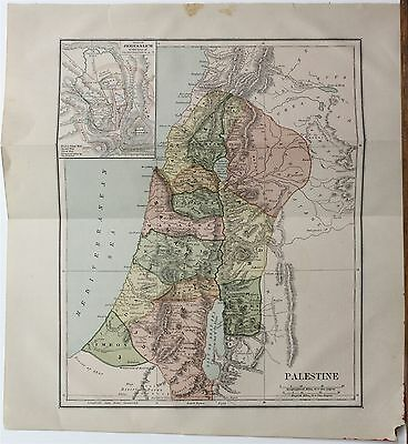 Original 1887 Map of Palestine Chambers's Encyclopedia Collier Publisher