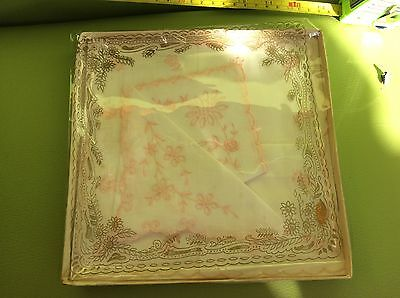 RETRO VINTAGE two fine WHITE PINK EMBROIDERED PRETTY SWISS MADE HANDKERCHIEFS bo