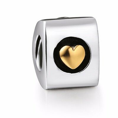 Gold Heart Beads European Silver charms For Bracelet/Necklace S925 Chain UK-1