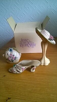 Set Of Miniatures, Just The Right Style. Hat, Stand, Bag & Shoe. Charity Sale