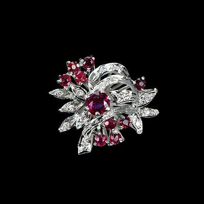 Spectacularly ornate WWII era ring with genuine rubies and diamonds rings M-F