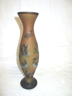 A Cameo Overlaid & Etched Floral Patterned Signed  Galle Glass Vase