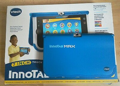 VTech Innotab MAX in blue - boxed with accessories & games