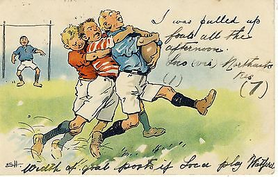Early Rugby Comic Postcard By E.s.h.  Published Ernest Nister Series 42