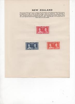 New Zealand 1937 Coronation set of 3 Mint stamps on Album Page