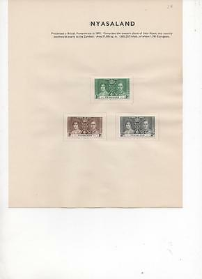 Nyasaland 1937 Coronation issue set of 3 stamps on album page