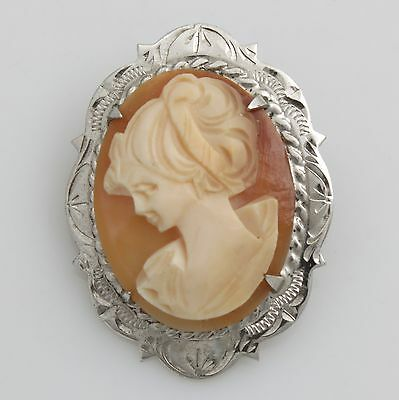 Vintage 925 Sterling Silver Carved Shell Cameo Brooch Hallmarked 1969
