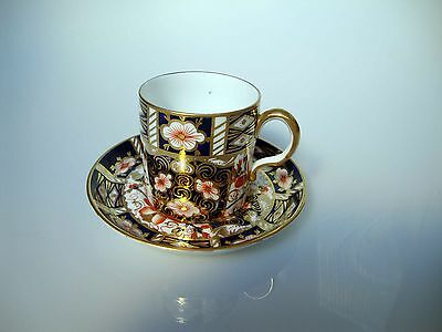 Antique Royal Crown Derby Imari Pattern Porcelain Coffee Can Cup Saucer 1911