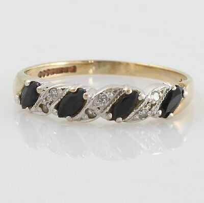 9ct Gold Sapphire & Diamond Cluster Eternity Engagement Ring Size P 1990