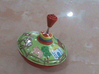 Trottola in latta Vintage Spinning top tin toy LBZ WESTERN Germany LIKE DISNEY