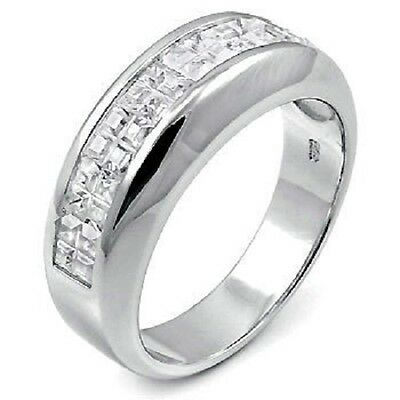 Men's Sterling Silver Half Eternity Cubic Zirconia CZ Wedding Band Ring