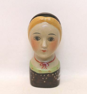 Colourful Handmade Ceramic Primitive Wall Hanging Doll Head Shaped Flower Vase