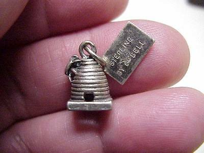 VINTAGE Sterling Silver BEEHIVE Charm with HONEY BEE by BELL STG
