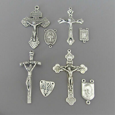8 Crucifixes & Centers Making Rosary Rosaries ITALY Parts Centerpiece LARGE S104