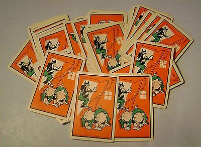Walt Disney Silly Symphony Three Little Pigs Big Bad Wolf Playing Cards Complete