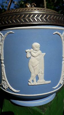 c1870 QUALITY PALE BLUE DIP JASPERWARE BISCUIT BARREL - probably WEDGWOOD