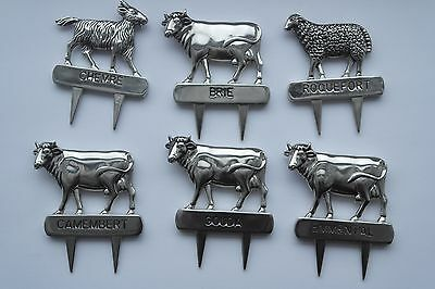 Set of lovely Cheese board silver coloured Animal markers 6 marked Silea