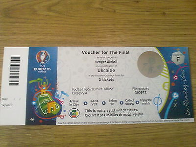 Ukraine Final Voucher for Euro 2016 Ticket Un-used due to failure to Qualify