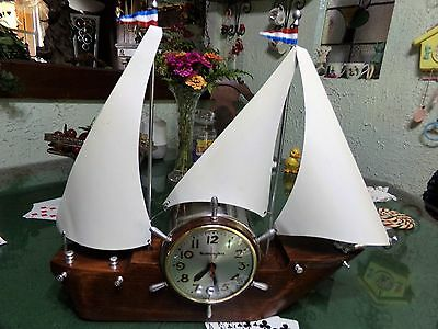 Vintage MasterCrafters Flying Cloud Sailboat Clock Working sailing ship