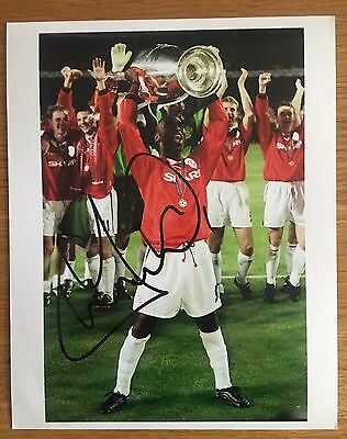 Andy Andrew Cole Hand signed 10x8 Manchester United  FC Photo - CL Trophy 1999