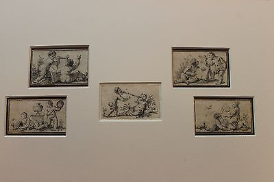 18th C.Old Master 5 pencil drawings baroque rococo putti angel Musicians Signed