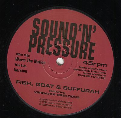 """ WARM THE NATION. "" fish, goat & suffurah. SOUND 'N' PRESSURE 12in 1993."