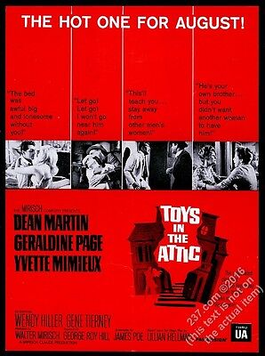 1963 Toys in the Attic movie release Dean Martin Yvette Mimieux photo trade ad