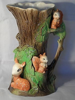 Large Eastgate Pottery Withersea Deer Squirrels Fauna Pattern 96 Jug 28cms High