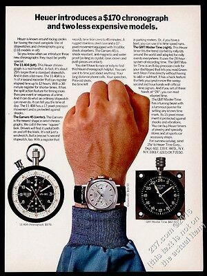 1968 Tag Heuer Camaro 45 watch GMT Master Time 11.404 chronograph photo ad
