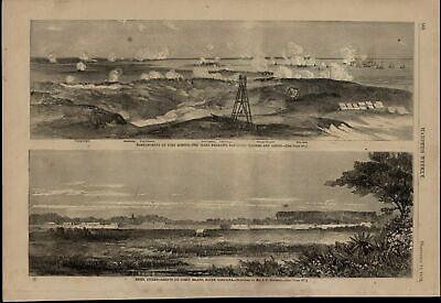 Fort Sumter Bombardment Rebel Entrenchments 1863 great old print for display
