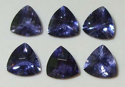 3.79ct Lot 6pc Zambian Blue Purple Iolite Checkerboard Trillion Cut 6mm SPECIAL