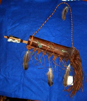"""Round 20"""" Fringed Leather Quiver w/ 2 Arrows Native American Navajo Lil Hawk #24"""