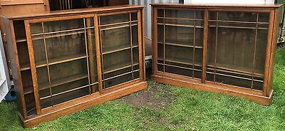 Pair Pr Antique Edwardian Oak Glazed Library Office Bookcases