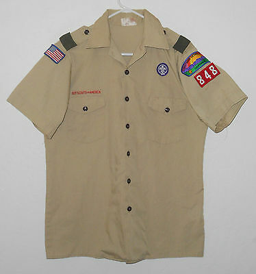 BOY SCOUTS Of America UNIFORM Shirt # 848 ADULT Scout w/ Patches USA Mens : MD