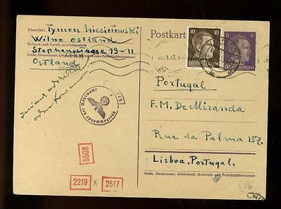 WWII:Undercover Mail: 1942 card,  Lithuania to England via Portugal, RR!