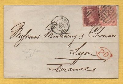 QV  1863 Wrapper to France SG80, 4d pale red (CAT £300) PLUS 1d Star LATE FEE