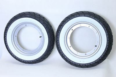 NEW 2 X SCHWALBE Weatherman Whitewall Tyres On Piaggio Rims For Vespa Rally 180